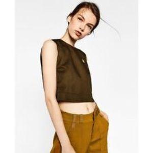 Zara Army Green Crop Top